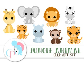 60% OFF SALE!  Jungle Animal ClipArt Set - Set of 9 - Safari Animal ClipArt - Cute Animal ClipArt - Instant Download - Scrapbook