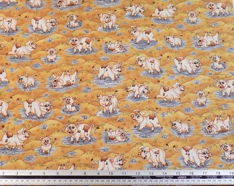 Kids Farmyard Pigs Pink Brown 100% Cotton High Quality Fabric Material *2 Sizes*