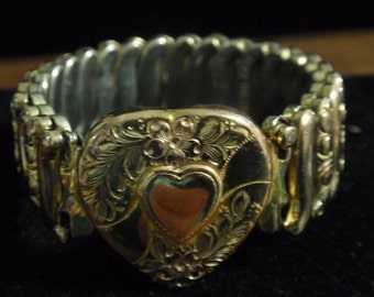 Sterling Gold Washed Heart Expandable Bracelet