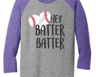 Hey Batter Batter Baseball Raglan 3/4 sleeve tee