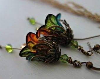 Flower Earrings - Floral Earrings - Dangle Drop Earrings - Bronze Earrings - Peridot Earrings - Topaz Earrings - Green and Orange Earrings