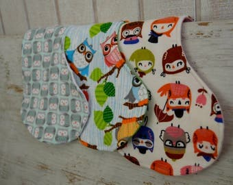 Owl Inspired Burp Cloths ~ Set of 3 ~ Gender Neutral ~ Boy or Girl ~ Mulit-Colored: Green, Pink, White, Gray