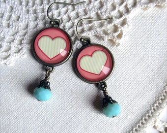 Cotton Candy Pink Valentines Day Heart Earrings
