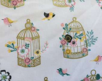 Birdcage Fabric, Cotton Fabric, Apparel Fabric, Quilting Fabric, Gold Fabric, Fabric by the yard