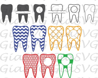 Patterned Tooth SVG, dentist svg, tooth monogram, split tooth svg, ready to cut files for Criut, Silhouette etc, also in png, eps & DXF
