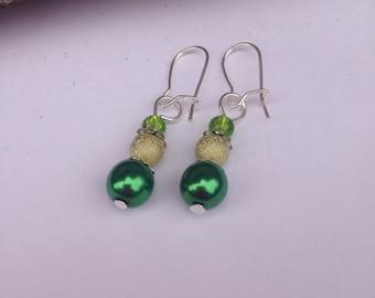 St Patrick's Day Leprechaun Earrings Irish Lucky Christmas Elf Stocking Filler Gift Beads Green