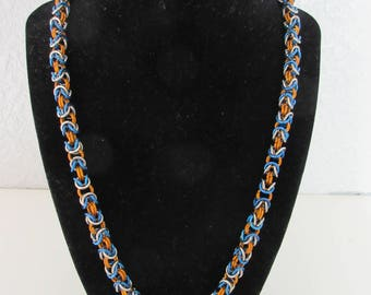 18g stainless steel with orange and blue anodized aluminum byzantine chainmail necklace