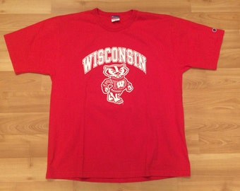 Mens badger t shirt etsy for University of wisconsin t shirts