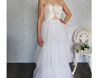 Polka dots wedding dress, bridal gown, tulle gown, boho wedding dress, country chic bridal, unconventional wedding dress, tutu skirt