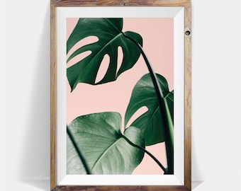 Palm Leaf Print,Pink and Green,Leaf,Tropical Print,Exotic Print,Palm Print,Nature Print,Nature Decor,Plant Print,Wall Print,Interior Art