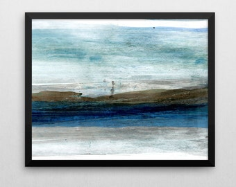 Abstract Art Print, Giclee Print, Abstract Painting, Blue & Brown, Minimalist Art, Abstract Wall Art, Fine Art Prints, Landscape Painting
