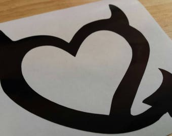 HEART DEVIL HORNS Tail Vinyl Decal . Free Shipping Yeti Window Car Laptop Wine Glass Coffee Beer Mug Frame Sports Bottle Sticker Tumbler
