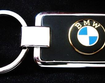 BMW Black Onyx & Silver Keychain