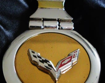 Corvette C7 18K Gold Keychain with Silver Trim-Free Engraving