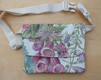 Hedgerow Foxglove Hip Bag, Belt Bag, Bum Bag, Waist Pouch, Money Belt Purse, Fanny Pack