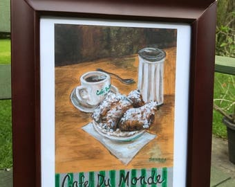 New Orleans Cafe' du Monde art print, New Orleans art, French Quarter, Kitchen decor, Louisiana art, Jackson Square, French kitchen, Beignet