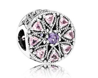 Authentic Pandora Shimmering Medallion Purple Pink Czs Charm Bead