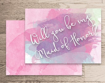 Will You Be My Maid Of Honor Instant Download- Rachel Collection- Pink and Purple Watercolour Handwritten Calligraphy White Printable
