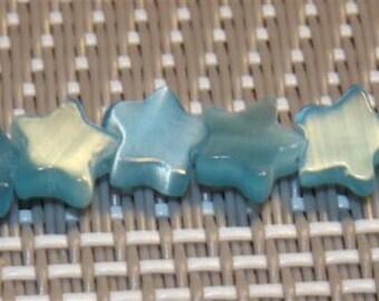 10 Cats eye beads, Blue Star, 6 mm