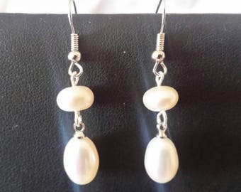 Earrings drops pearls of culture of freshwater