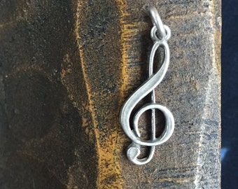 Treble Clef 925 Silver Vintage Charm, Item S49 - Free Shipping within USA