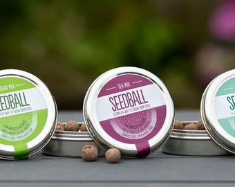 Gift of the Year 2017! Garden gift Grow !!! 3 SEEDBALL TINS Salad Mix, Herb Mix & Tea Mix grow in you planting pot/ window boxes