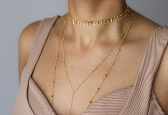 delicate gold choker necklace bohemian jewelry gold