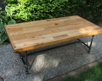 Reclaimed Coffee Table on Pipe Base