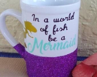 Glitter dipped coffee mug
