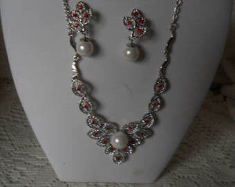 Red And White Pearl Rhinestone Necklace Earring Set #141