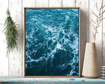 Ocean art print, Wall art ocean waves, Abstract coastal art, wave art print, art print, abstract Ocean artwork, beach art, modern minimalist
