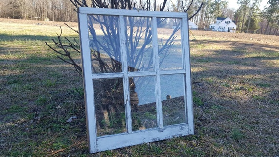 Vintage antique farm window sash frame 6 pane 32X28 very old unique country cottage wedding portrait rare style distressed rustic