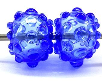 Night Blue Big Hollow Lampwork Bead Set (2),