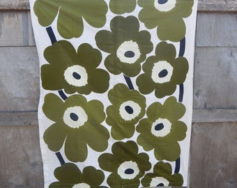 "Scandinavian Vintage Fabric Made in Finland by MARIMEKKO Oy Suomi Finland design Maija Isola Green ""UNIKKO"" Curtain Fabric Textile,1965"