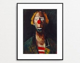 Tete de Clown, 1937 - Joseph Kutter Painting - Giclee Reproduction - Clown Print - Clown Art - Clown Wall Art - Clown Painting - Red Nose