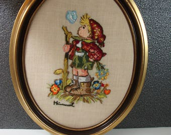 Framed Hummel Wall Art Vintage Embroidered Whistling Boy Picture in an Oval Frame Hummel Home Decor