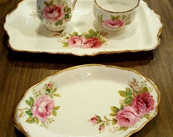 vintage china vintage sugar and creamer floral sugar and creamer tea set shabby chic tea set