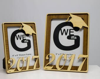 """Class of 2017, Picture Frame 5"""" x 7"""" or 4"""" x 6"""", Multi layer laser cut wood.  Free shipping"""