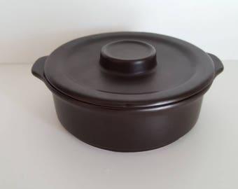 Vintage 1970s Doverstone Heather Individual Casserole - Small Casserole Dish - Lidded Bowl - Staffordshire - English Pottery - Chocolate
