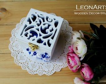 Wedding Ring Bearer Box-Ring Keepsake Box with flowers-White&Royal blue Ring Holder-Engagement monograms ring box-Wedding Gift-Proposal box
