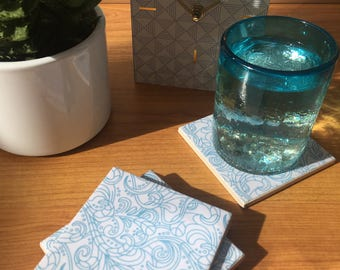 Ceramic Coasters - Blue Paisley Design