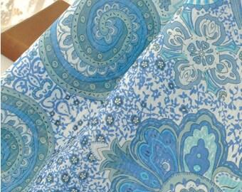 "Blue Floral Cotton Fabric Lightweight Cotton Gauze Fabric - 19.5"" x 55"" MT004"