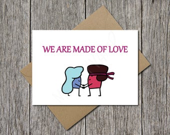 Steven Universe, Cute Card, Valentine's Card, Geeky Card, Birthday Card, For Her, LGBT Card, Lesbian Card, Gay Love Card, Digital Download