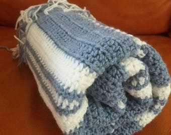 Hand crocheted baby blanket,suitable for wrapping baby or for use in crib, pram or car seat,