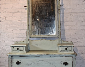 Antique Solid Wood Vanity with Mirror