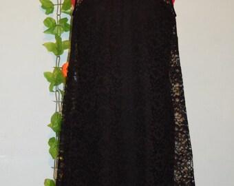 vintage 50s 60s Kitty Copeland black lace dress