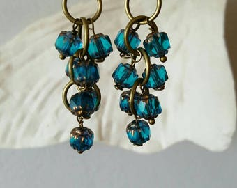 Bronze earrings earrings clusters, glass beads, dangling earrings earrings,