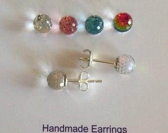 Choose Colour 6mm Swarovski Elements Disco Ball earrings & Real Sterling Silver Hooks- Australia