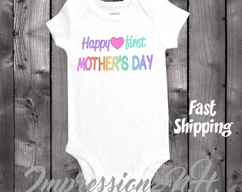 Happy 1st Mother's Day onesie - Colorful baby shirt to wear on Mother's Day