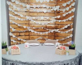 Paper Heart Garland, wedding garland, pew decorations, anniversary, engagement